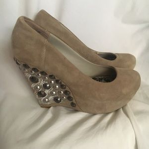 Naughty Monkey tan platform wedges with beading